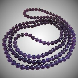 Beautiful Deep Purple Amethyst Bead 46 Inch Rope Necklace