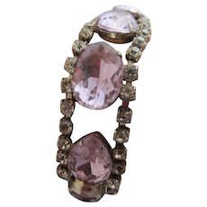 1950's Faux Alexandrite and Clear Rhinestone Cocktail Bracelet