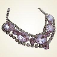 Faux Alexandrite and Clear Rhinestone Dazzling Necklace, 1950's