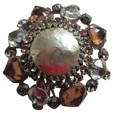 Gorgeous Signed SCHREINER Simulated Baroque Pearl, Champagne, Topaz and Clear Rhinestones Brooch