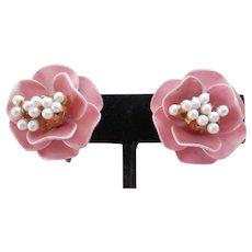 MARVELLA Pretty Pink Enamel Flower Earrings with Pearls, c. 1960's