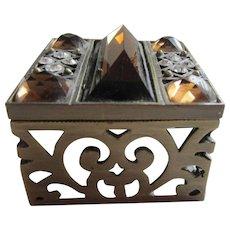 Small Jewelled Pierced Metal Lidded Box - Jewellery, Trinkets