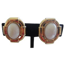 Stylish CINER Cream Cabochon and Heavy Gold Plated Bezel Earrings