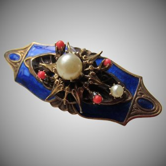 Rich Cobalt Blue Enamel, Simulated Coral and Pearls Mystery Brooch