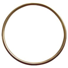 Signed  14K Gold Tubular Bangle Bracelet
