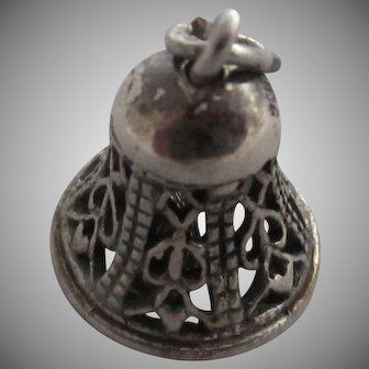 Sterling Silver Filigree Wedding Bell Charm or Pendant