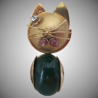Unusual Abstract Cat Brooch with Faux Jade Body