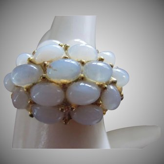 Faux Moonstone Cabochons Cluster Ring, c. 1960's-1970's