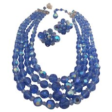 SHERMAN Beautiful Blue Multi Strand Crystal Necklace and Matching Earrings