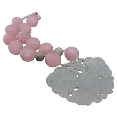 Fumiko Ukai Weighty Chinese Serpentine Butterfly and Jade and Rose Quartz Beads Collector's Necklace