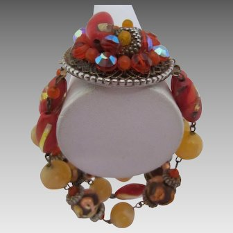 Gorgeous Art Glass Orange and Golden Beads Central Clasp Bracelet
