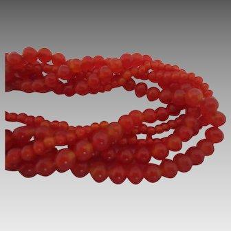Carnelian Glass Beads Multi Strand  Choker Necklace, c. 1930's
