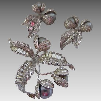 Classic Boucher Simulated Grey Pearl and Diamond Brooch and Matching Earrings, c. 1940's