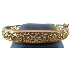 AVON Real Look Goldtone Filigree Hinged Bangle Bracelet