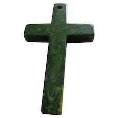 Forest Green Marbled Bakelite Cross Pendant