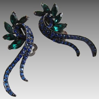 Gracefully Curving Midnight Blue and Emerald Green Rhinestone Earrings
