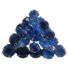 Brilliant Blue Triangular Shaped Rhinestone Brooch, c.. 1950's
