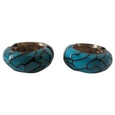 Eisenberg Turquoise and Black Enamel Hoop Earrings, 1970's