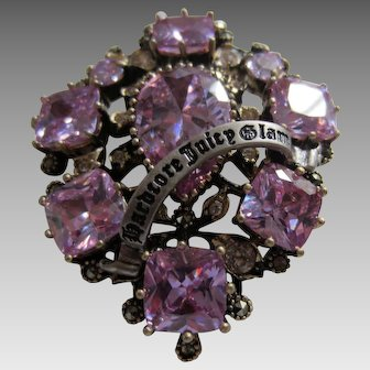 Luxurious JUICY COUTURE Simulated Amethyst Brooch in Original Box