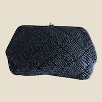 Iridescent Midnight Blue Glass Beaded Evening Clutch Purse, Hand Made in Japan