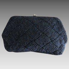 Iridescent Midnight Blue Glass Beaded Evening Clutch Purse, Hand Made in Japan