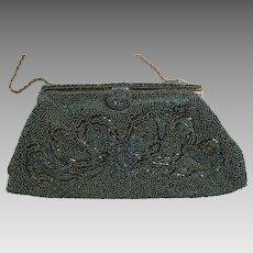 Iridescent Green Beaded Evening Bag, Handmade in France for WALBORG