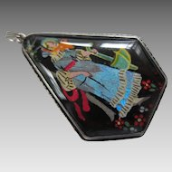 Rare Shipton Butterfly Wing and Sterling Silver Pentagonal-Shaped Pendant, c. 1920's