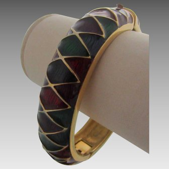 JOAN RIVERS Harlequin Pattern Hinged Bangle Bracelet in Rich Blue, Red, Plum and Green Enamel in Classics Pouch