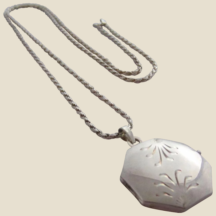 Large Antique Square Silver Leaf Pendant Leaf Necklace on your choice of chain Rustic Pendant