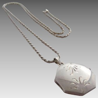 Octagonal Engraved Sterling Silver Locket and Chain, Italy