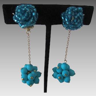 Fabulous Turquoise Cluster Bead Dangling Earrings, c. 1960's