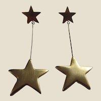 KJL K.J.L. Kenneth Jay Lane Golden Stars Long Pierced Earrings