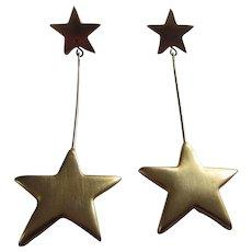 KJL Kenneth Jay Lane Golden Stars Long Pierced Earrings