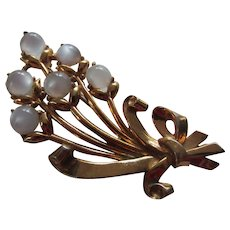 CORO Simulated Moonstone Flower Bouquet Brooch, c. 1930's