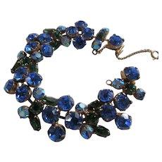 Brilliant Blue and Green Rhinestone REGENCY Bracelet, c. 1950's