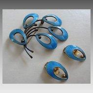 Stellar JEMAX Danish Sterling & Turquoise Enamel Brooch & Earrings