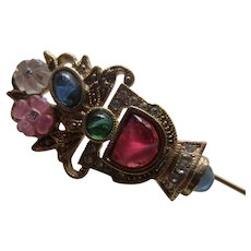 Pretty Jewelled Stickpin 1930's-1940's Style