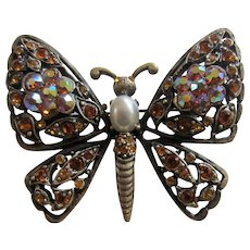 Beautiful HOBE Simulated Pearl and Topaz Rhinestones Butterfly Brooch