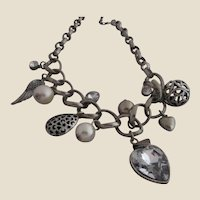 Chunky Charm Necklace with Hearts, Filigree Pendants, Faux Pearls and Cubic Zirconia, c. 1980's