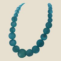Chunky Vintage Turquoise Moonglow Lucite Beads Necklace