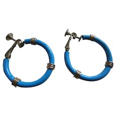 Vintage NAPIER Turquoise Painted Hoop Earrings with Goldtone Accents