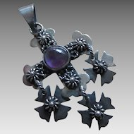 Mexican Sterling Silver and Amethyst Cross Pendant