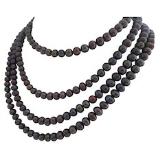 Freshwater Pearl Rope Necklace in Gorgeous Metallic  Aubergine, Green, Grey