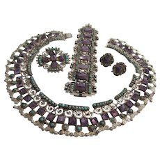 MATL MATILDE POULAT SALAS Mexico Sterling Silver, Amethyst and Turquoise Parure - Necklace, Bracelet, Brooch, Earrings