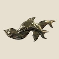 Rare McCLELLAND BARCLAY Trio of Leaping Dolphins Repoussé Sterling Silver Brooch