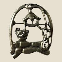 McCLELLAND BARCLAY Sterling Silver Wishing Well Pin Brooch, Book Piece