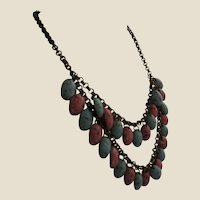 Festoon Necklace of Brass and Marbled Turquoise and Coral Celluloid Drops, c. 1930's