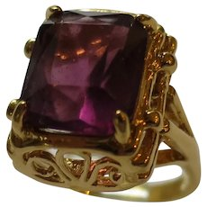 Large Purple Rhinestone in Ornate Setting Signed Cocktail Ring
