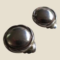 Christian Dior Vintage Silver Metal Button Earrings