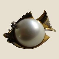 Mabé Pearl Belly and Sterling Vermeil Small Fish Pin Brooch - Miniatures, Dolls